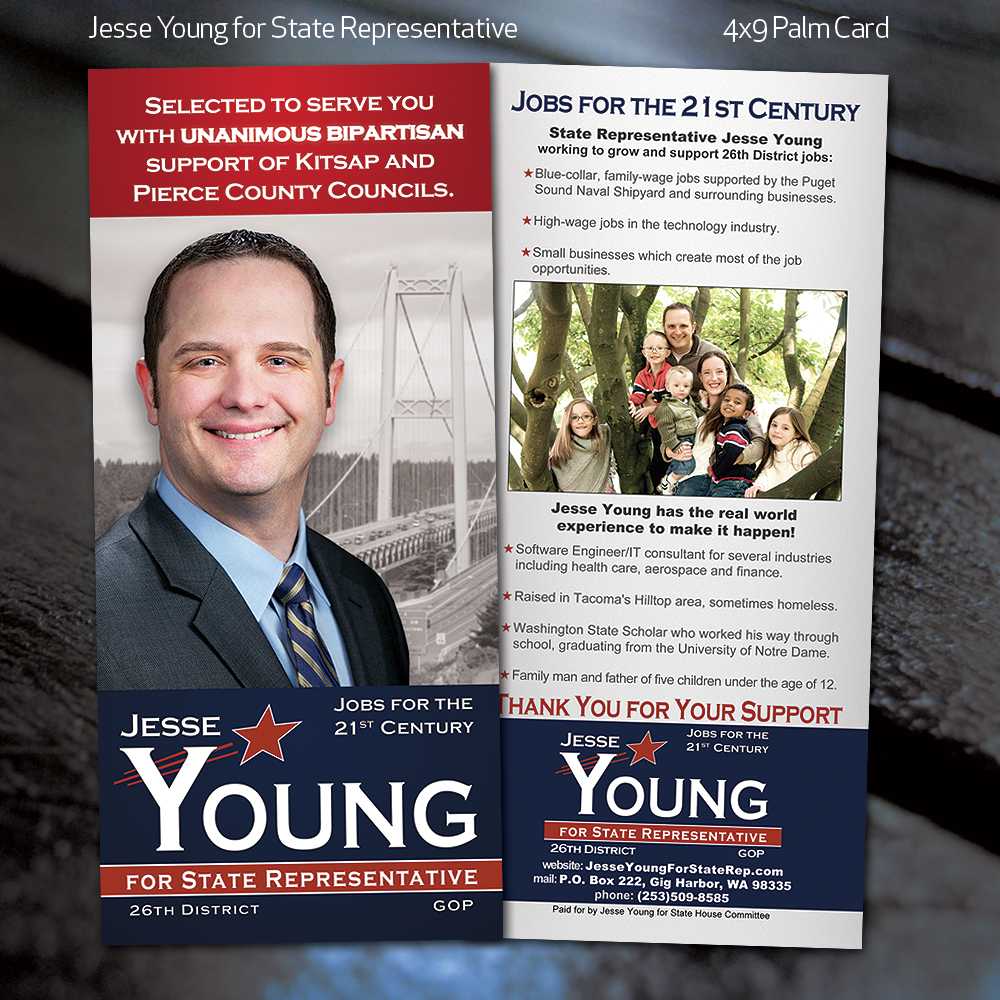 Jesse Young for State Representative Palm Card by fireproofgfx on ...