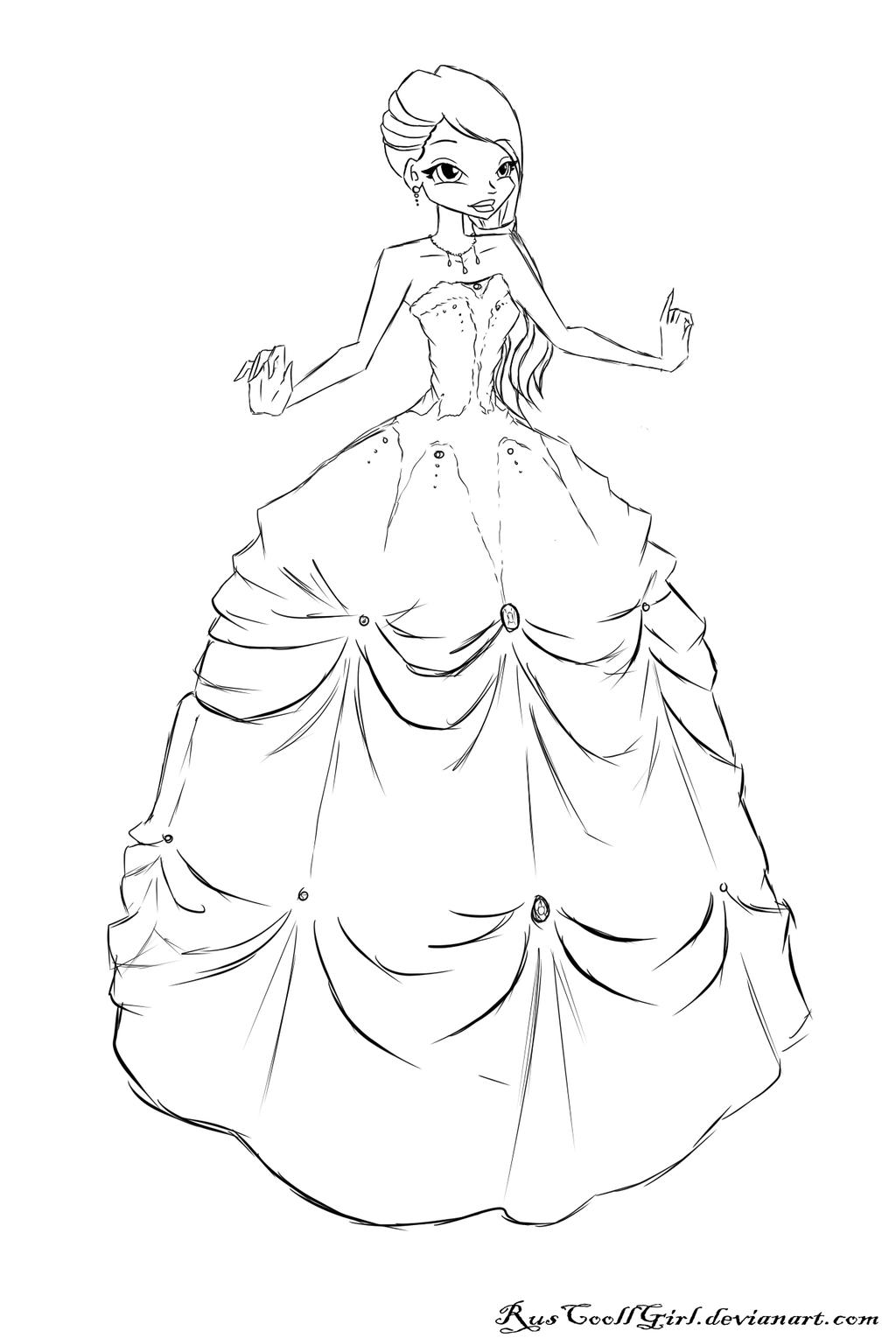 COM Sketch Breanna Ball Gown By RusCoollGirl On DeviantArt