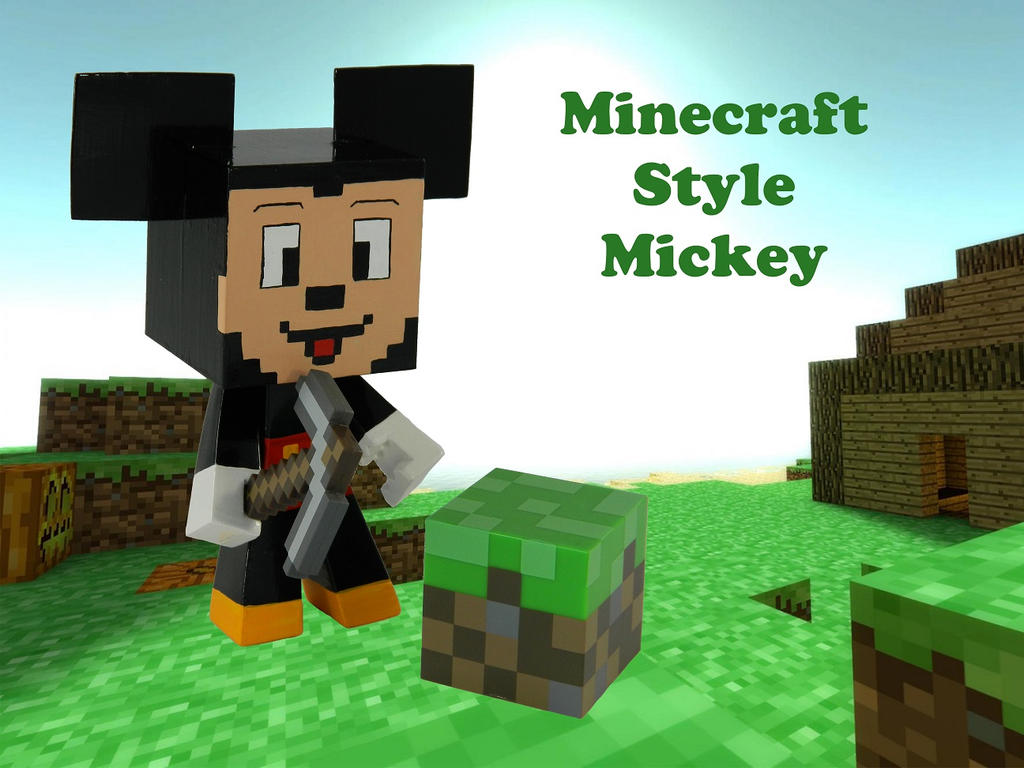 vinyl minecraft style mickey mouse by minimixx