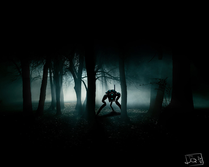 Hunter in a dark forest by MonsieurBaron