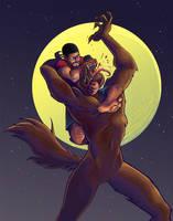 Werewolf Wrasslin' by lizzicusart