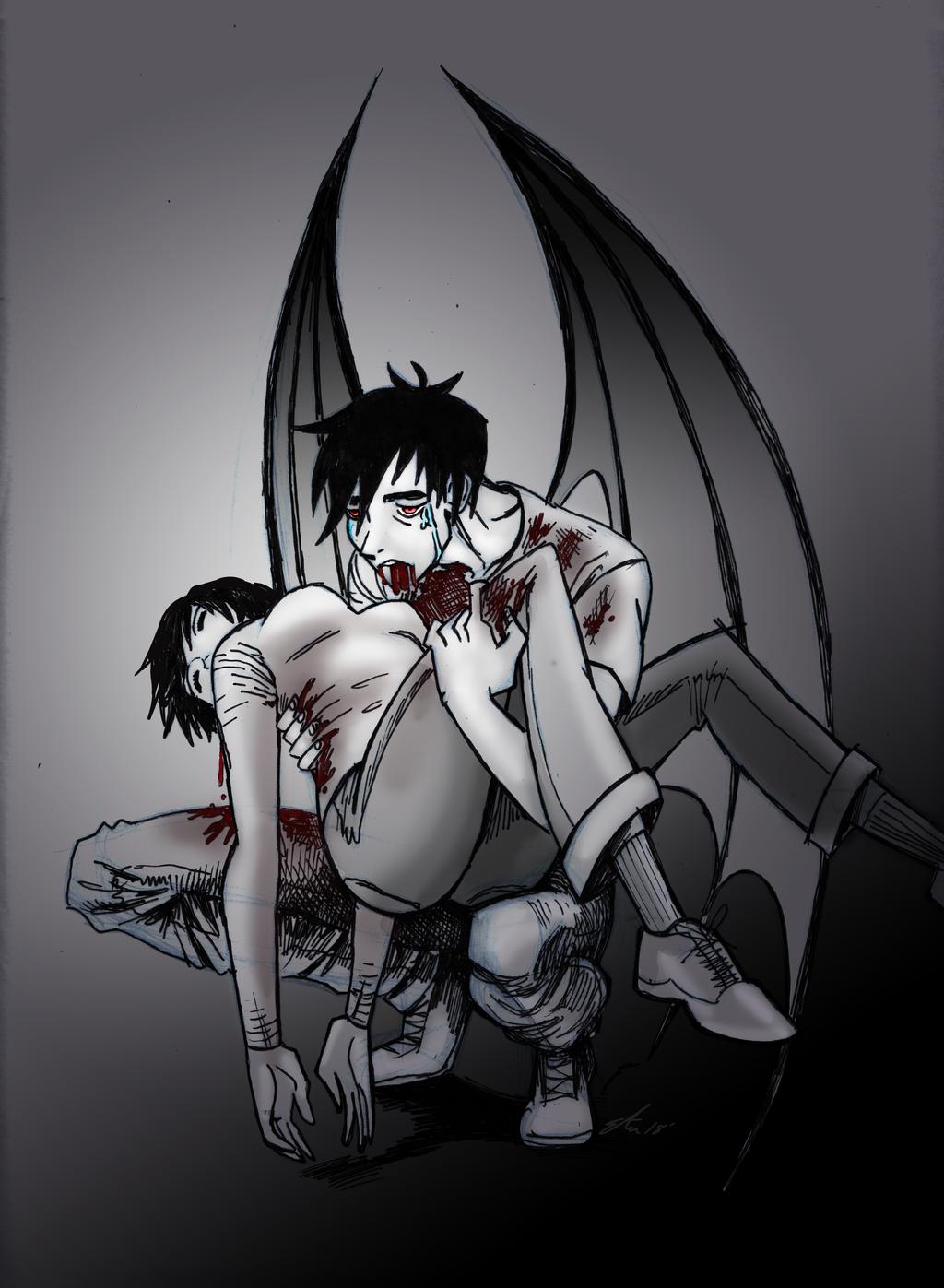 'Drain' Vampire by lizzicusart
