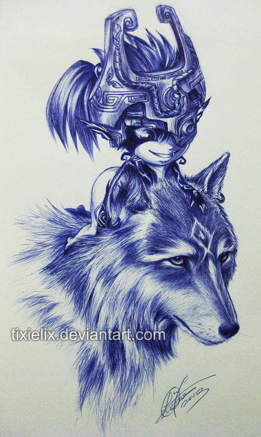 Wolf Link n Midna Pen Sketch