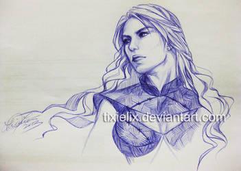 Daenerys sketch 15.08.13 by TixieLix