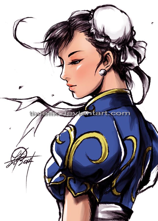 Chun Li sketch 20.06.14 by TixieLix