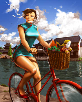 Chun Li and her funky red bike