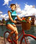 Chun Li and her funky red bike