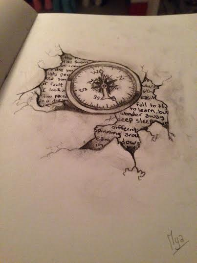 Tattoo Line Drawing Books : Compass book tattoo drawing by blackrabbitdrawings on