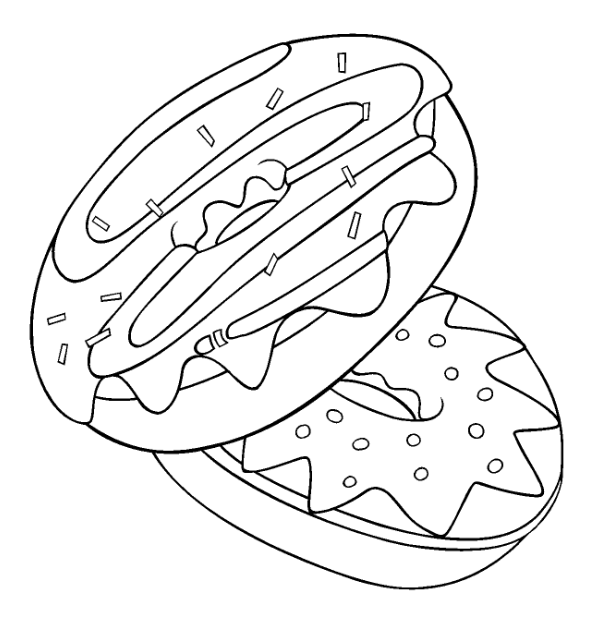 Donut Coloring Pages