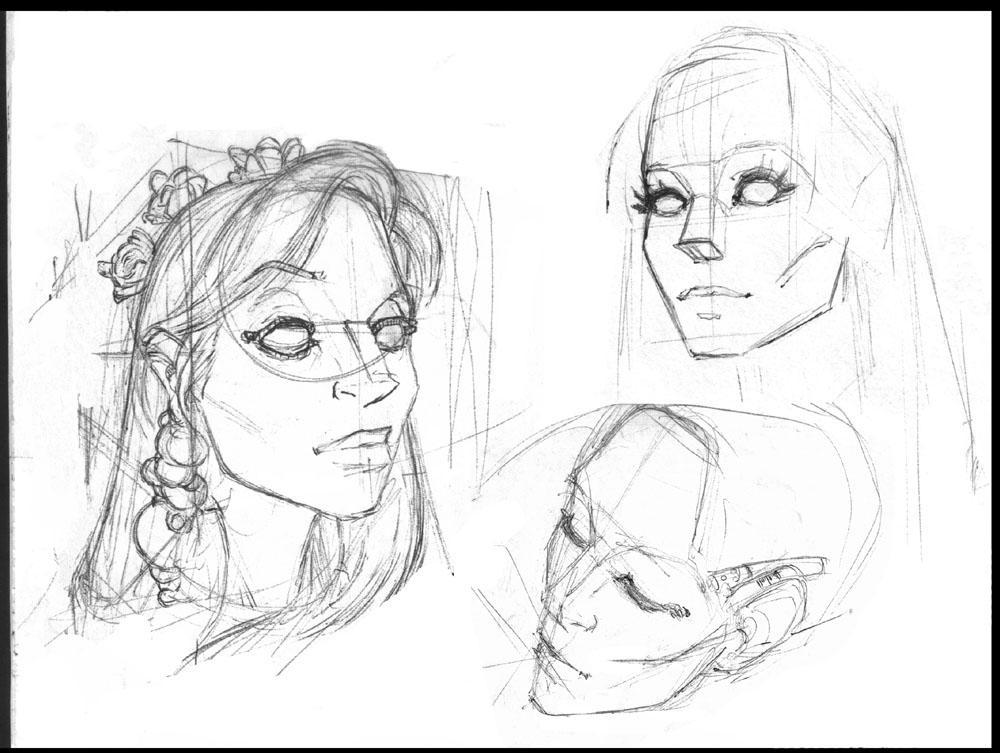 Female Face Studies by shirik