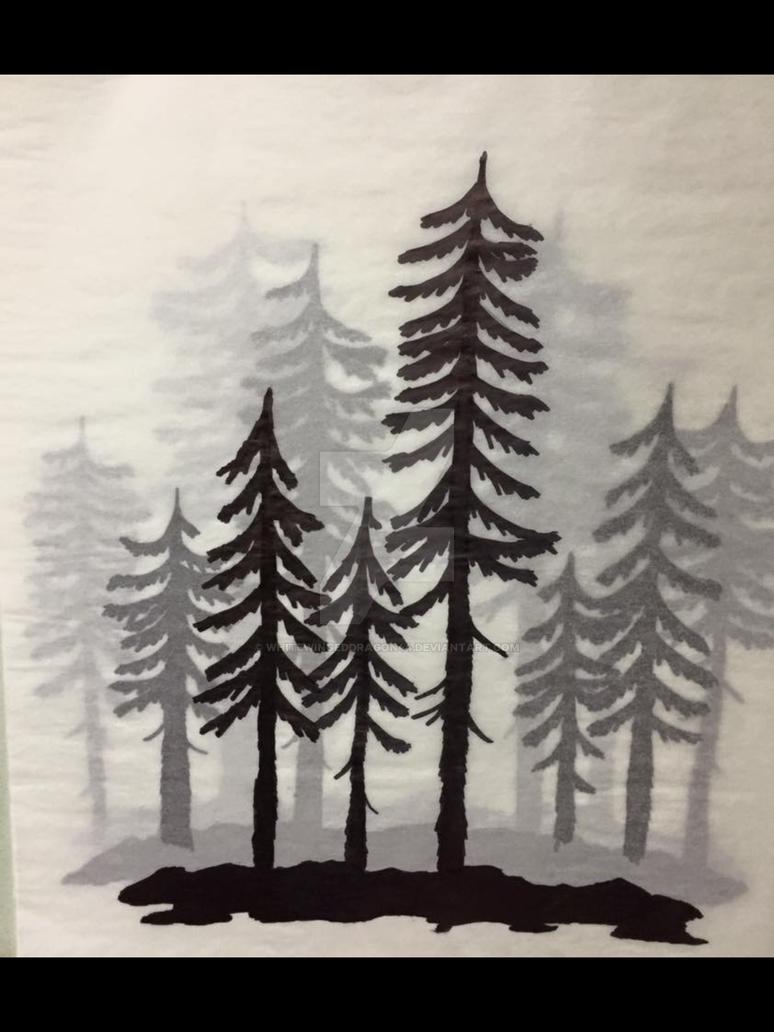 Trees in fog by Whitewingeddragon44