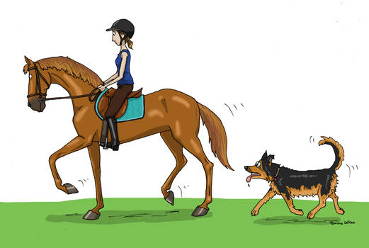 Horse Riding with Dog by Tamara971