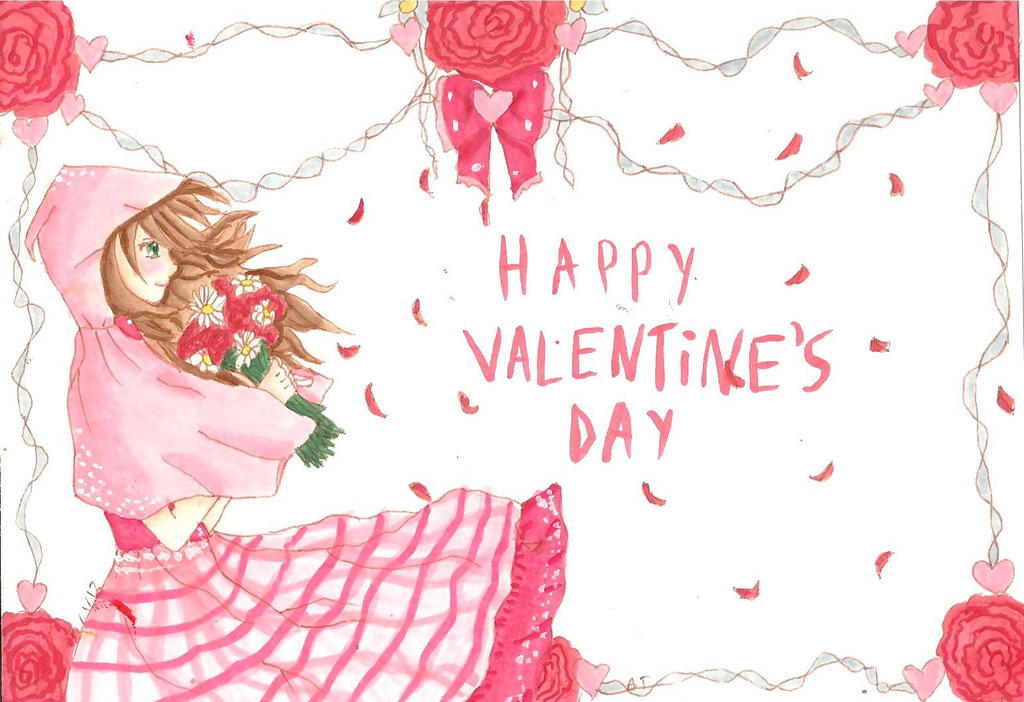 Happy Valentines Day Anime Girl By Copickittens1000