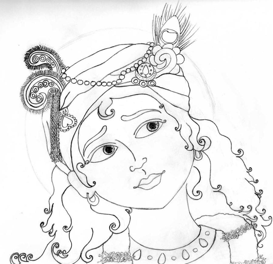 Line Art Krishna : Sri krishna lineart by rain drop on deviantart