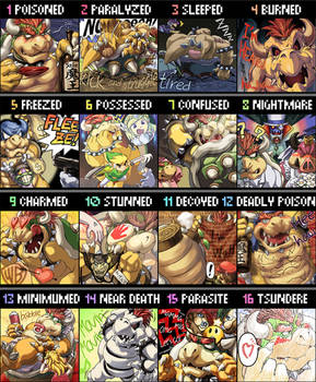 Bowser scribble in 16 themes