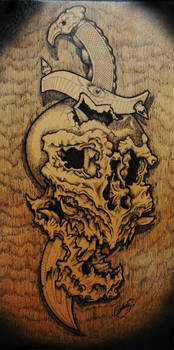 pen and ink on wood