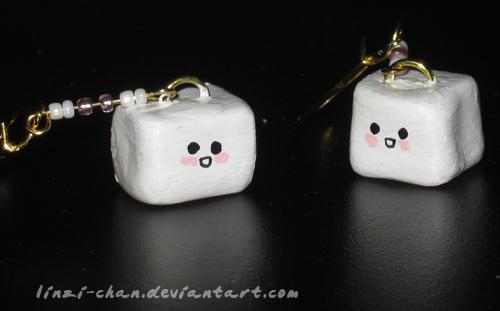 Tofu earrings by linzi-chan