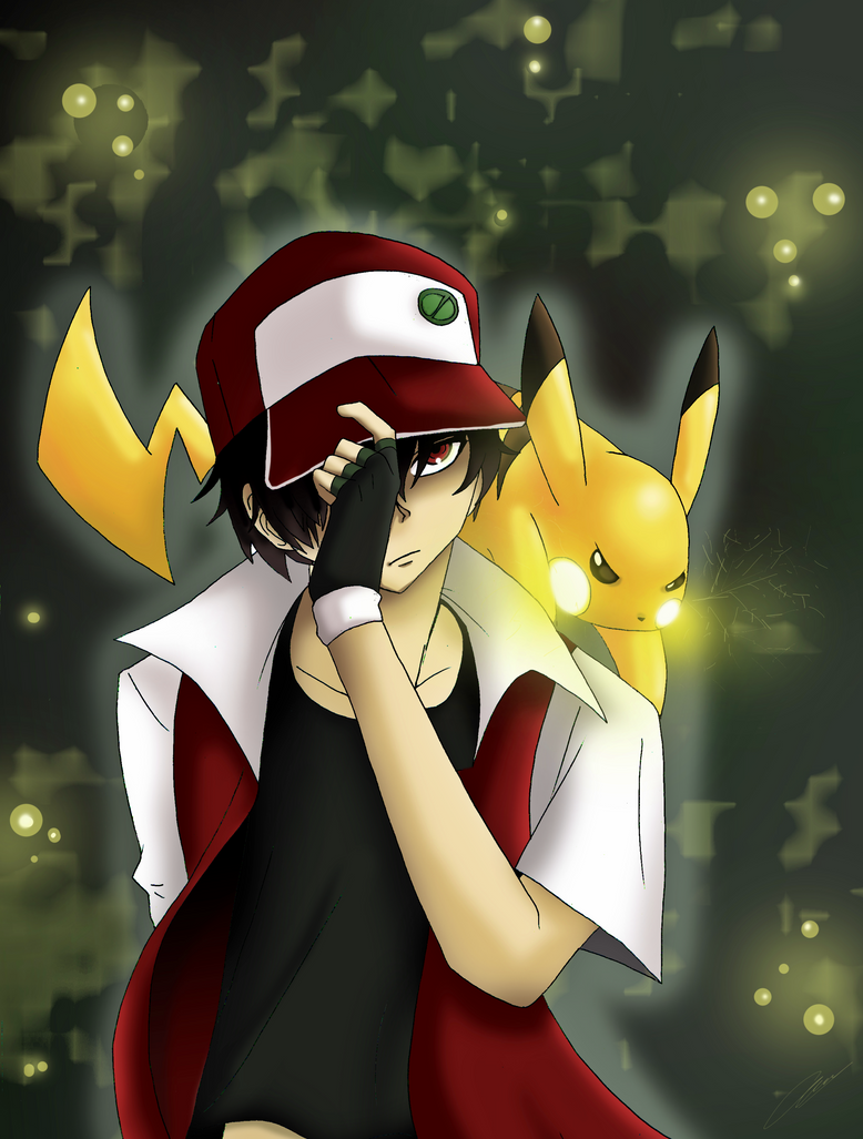 Red and Pikachu by Hikari-15-L on DeviantArt
