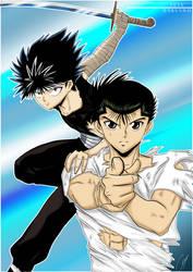 Hiei and Yusuke by Hikari-15-L