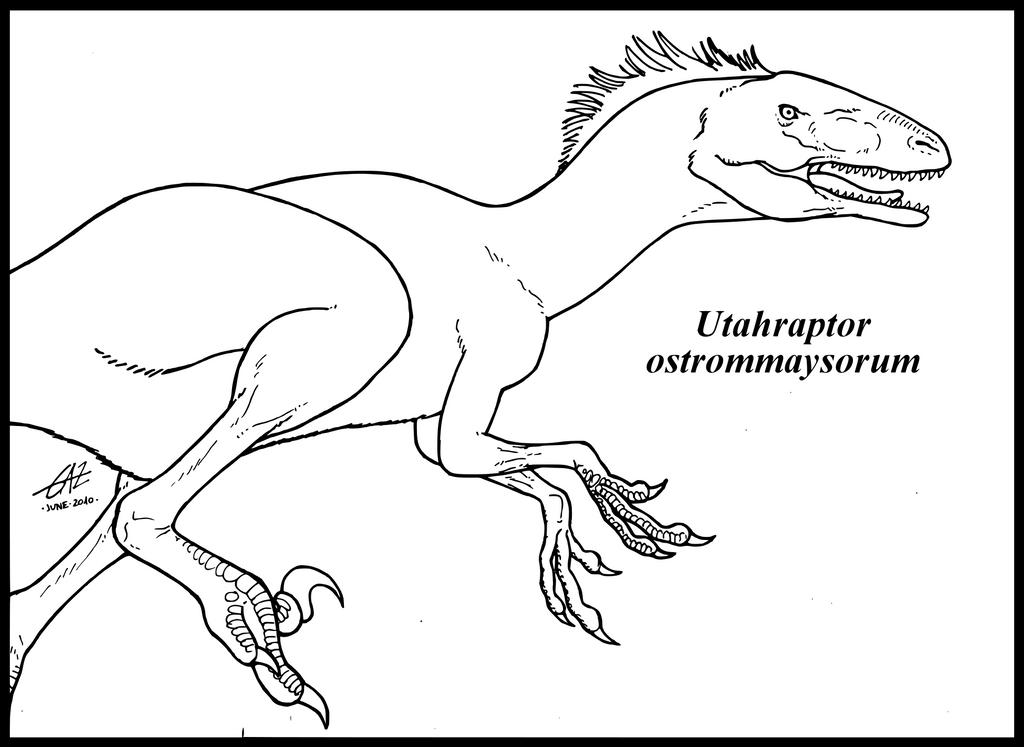 Utahraptor ostrommaysorum by zakafreakarama on deviantart for Utahraptor coloring page
