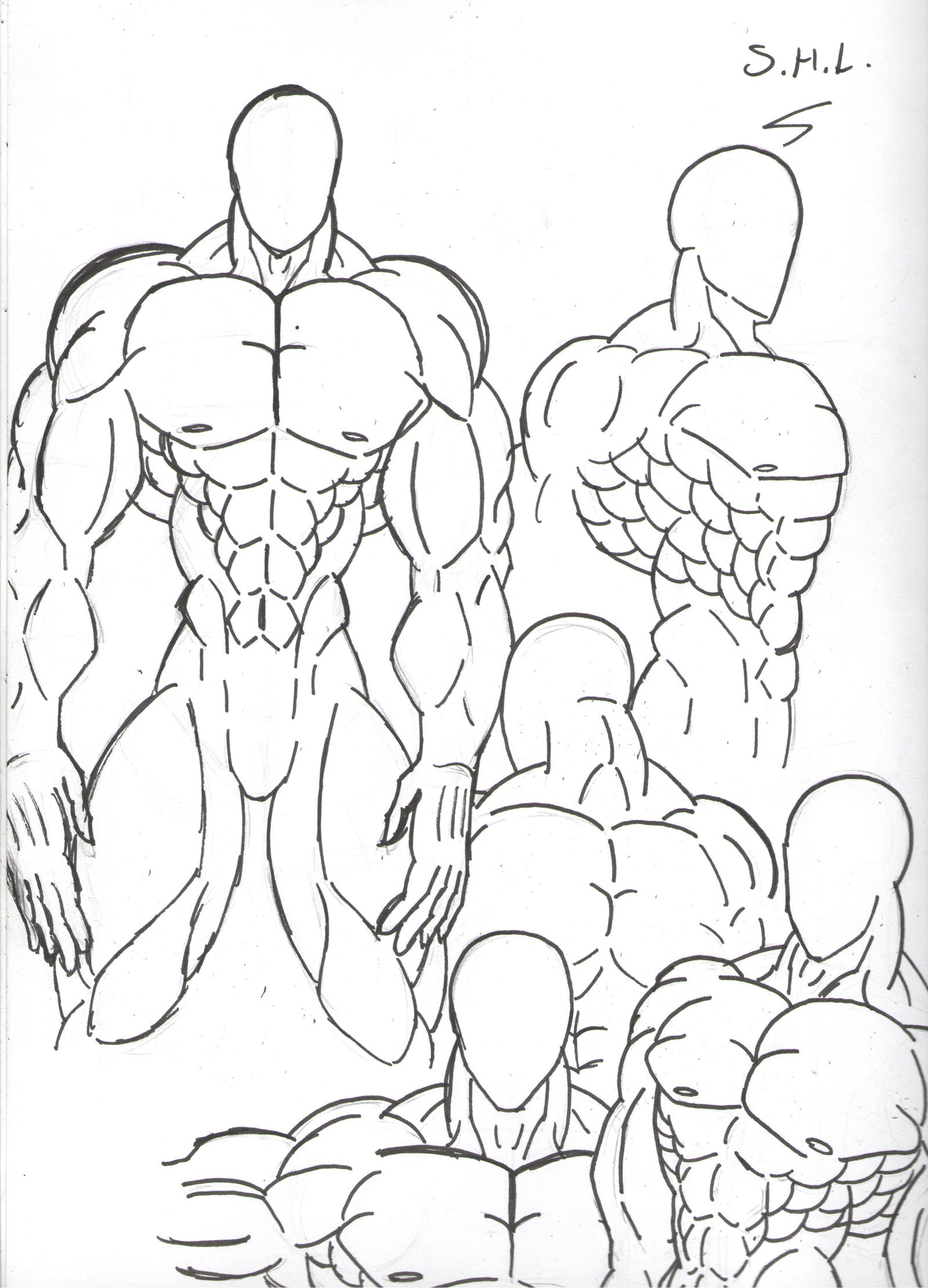 Muscular bodies sketch by STRAYKER24 on DeviantArt