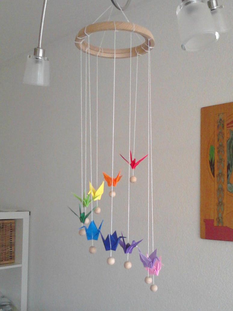 Rainbow Origami Crane Mobile By Sakuralu83 On Deviantart