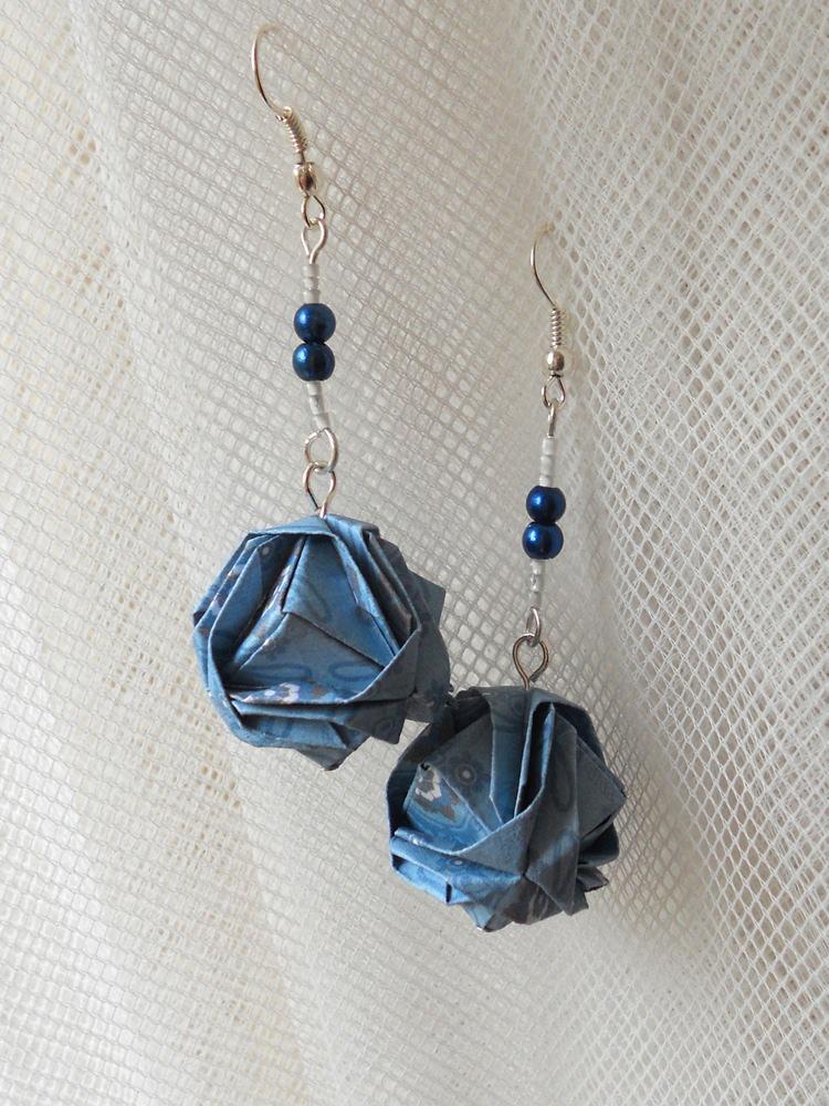Origami Brocade Earrings by sakuralu83