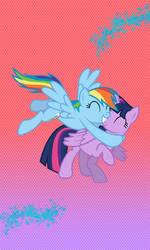 Princess Twilight Sparkle and Rainbow Dash hug