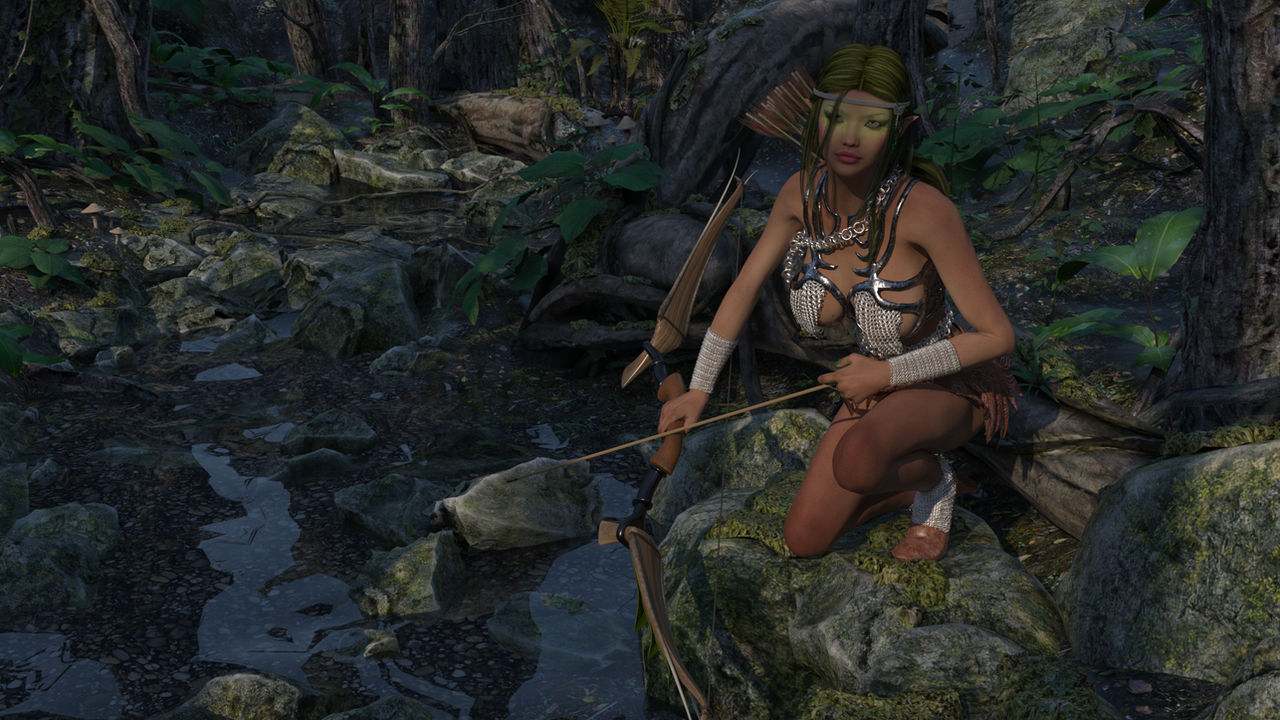 Huntress in the Woods