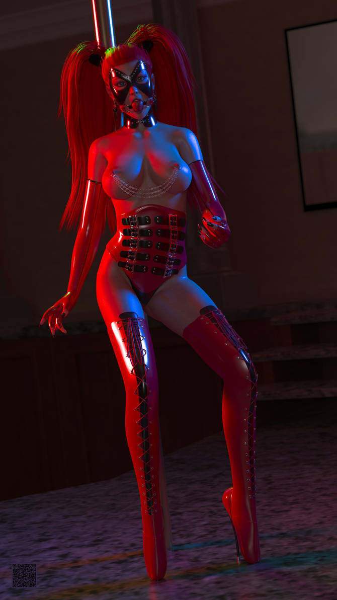 Fetish Pole Dancer in Latex 004 - Portrait by cwichura