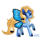 Commission: Blue Peleide Pixel Pony by FadedSketch