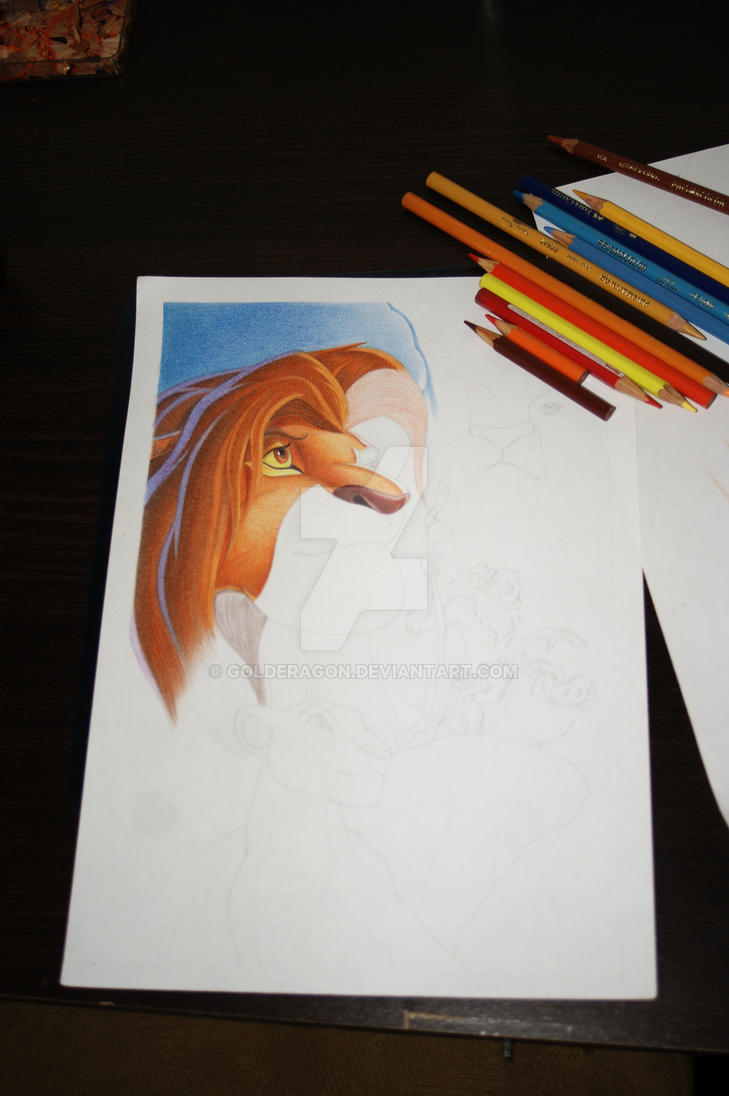 Lion King WIP 01 by Golderagon
