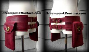 Red Steampunk Pouch Belt