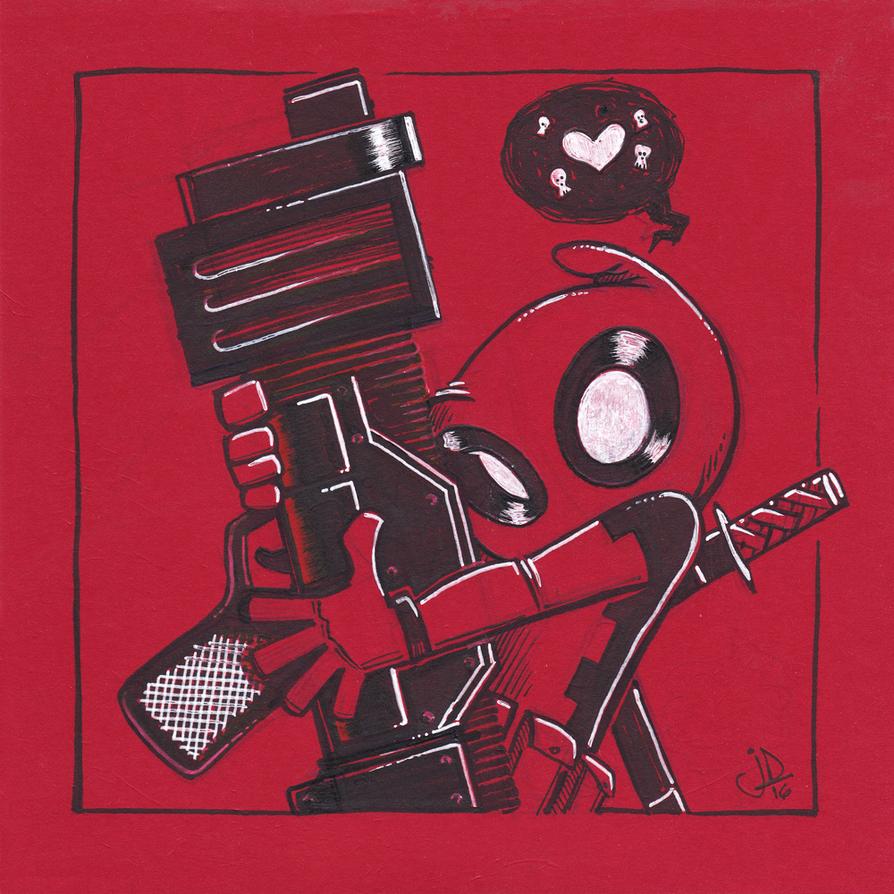 Chibi Deadpool Loves Big Bertha by joelduggan