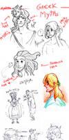 Sketchdump Fyra greek myths by Allysterio