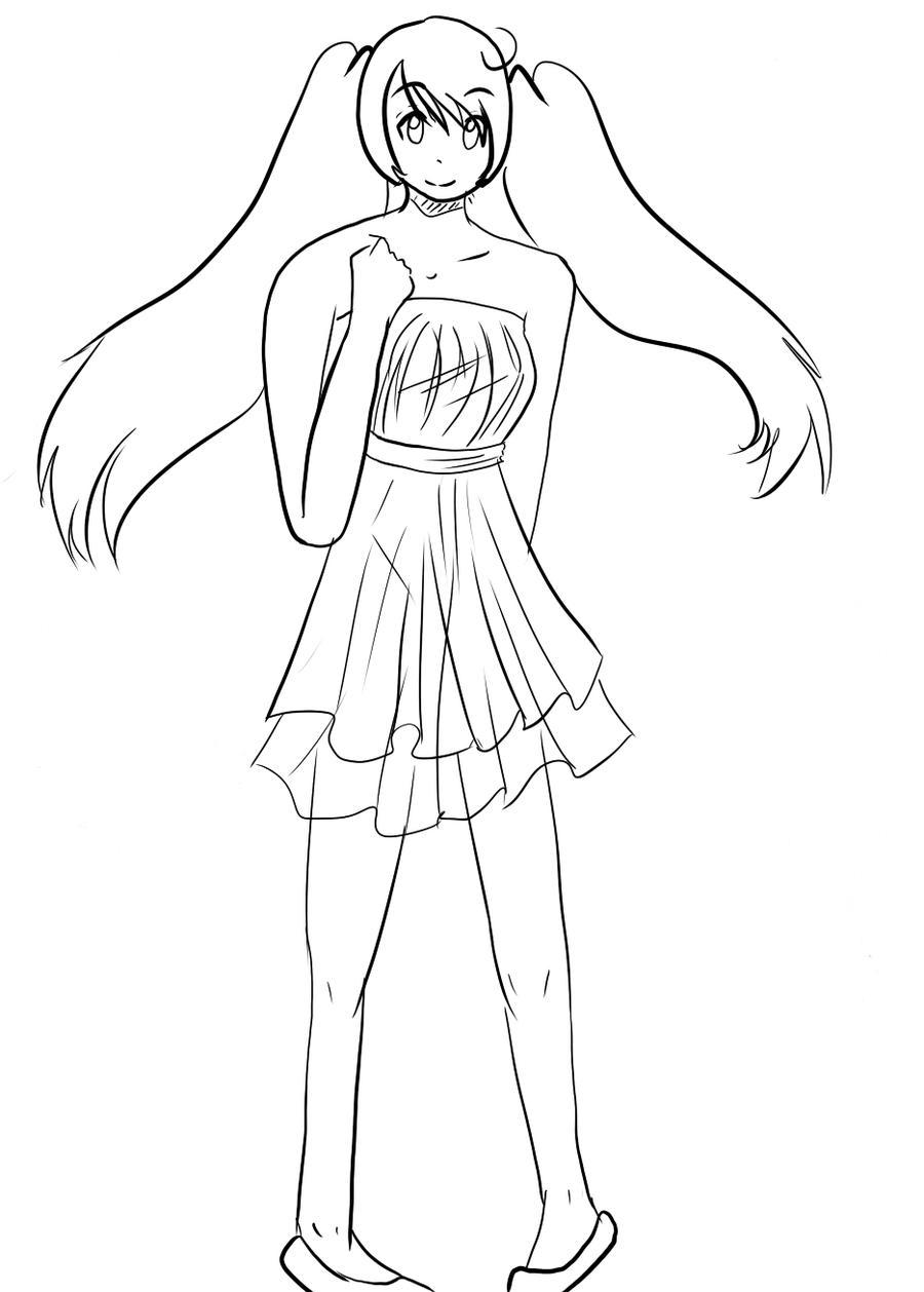 Line Drawing Dress : Summer dress lineart by starpling on deviantart