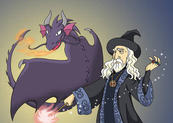 Wizard and dragon by sprucehammer