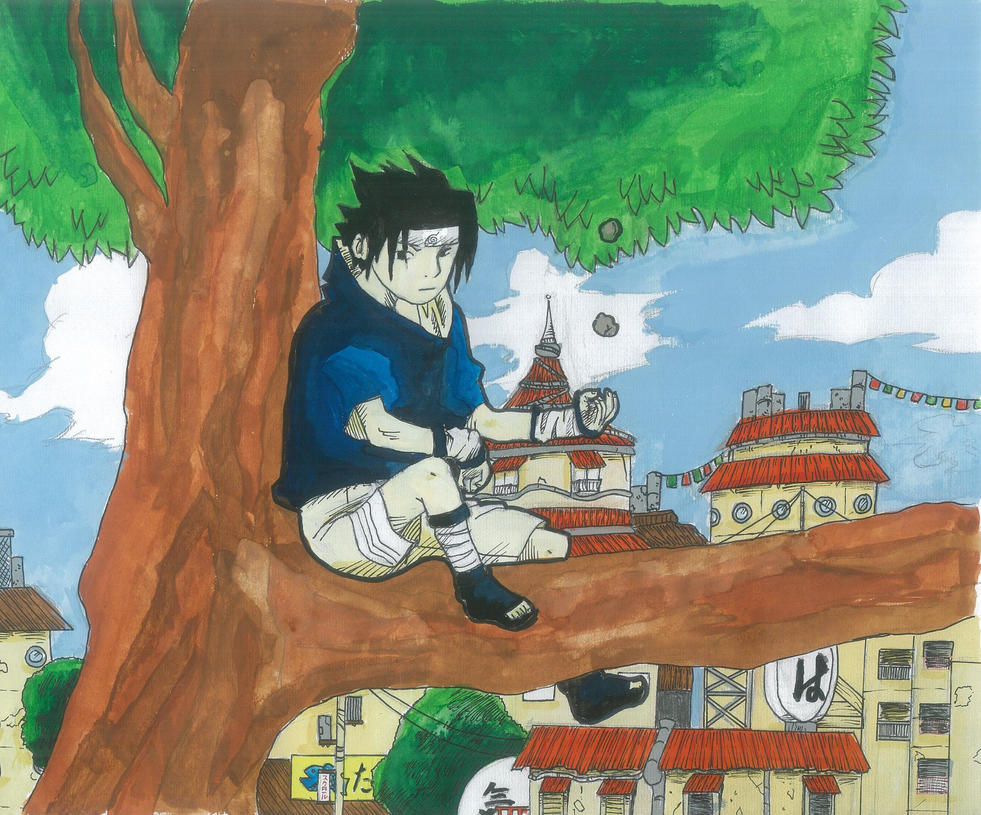 Sasuke sitting in a tree by The-Krazy-Kitten