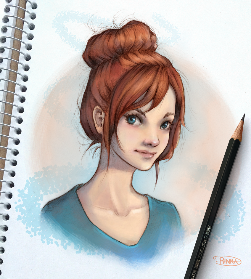 messy bun girl by ohayorinka on deviantart
