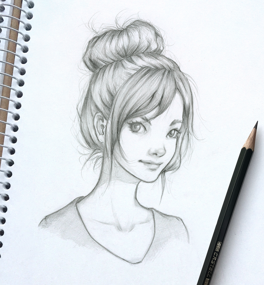 Messy Bun Girl Skech By Ohayorinka On Deviantart
