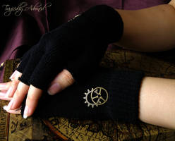 Black Steampunk Cut Off Gloves by Nya99