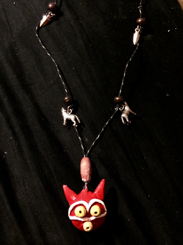 Handmade Princess Mononoke Charm Mask Necklace by XSlytherinxPrincessX