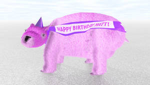 Giant Pink Wombat with Party Hat