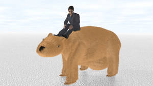 Man Riding Giant Wombat