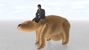 Man Riding Giant Wombat Again