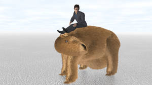 Man Riding Giant Wombat a Third Time