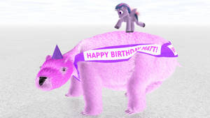 Twilight Sparkle Dancing on a Giant Pink Wombat