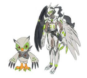 Genji Falcomon and Ravemon by theIggyness