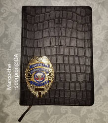 MY T-REX LEATHER BIBLE and SECURITY BADGE.