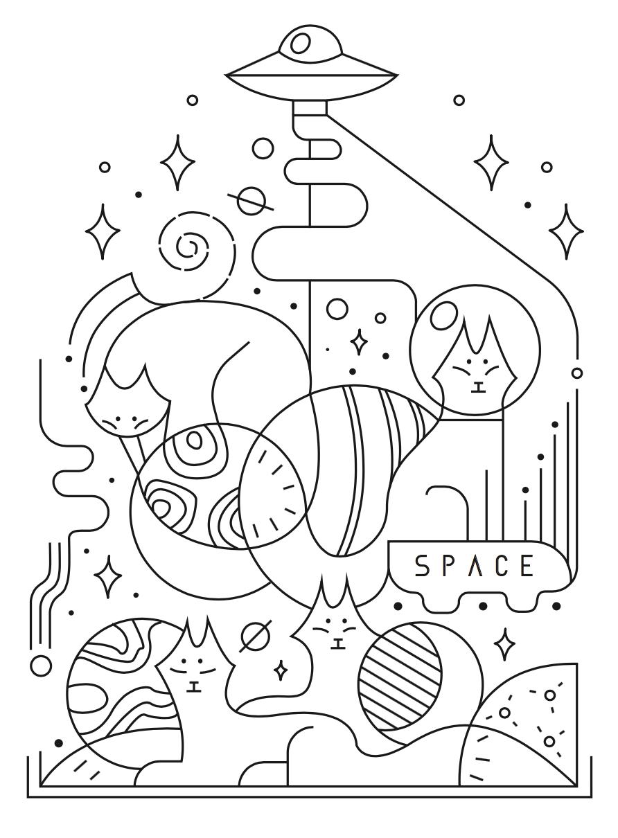 Space cats by Mogueta
